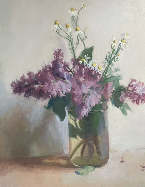 Study in purple, white and green