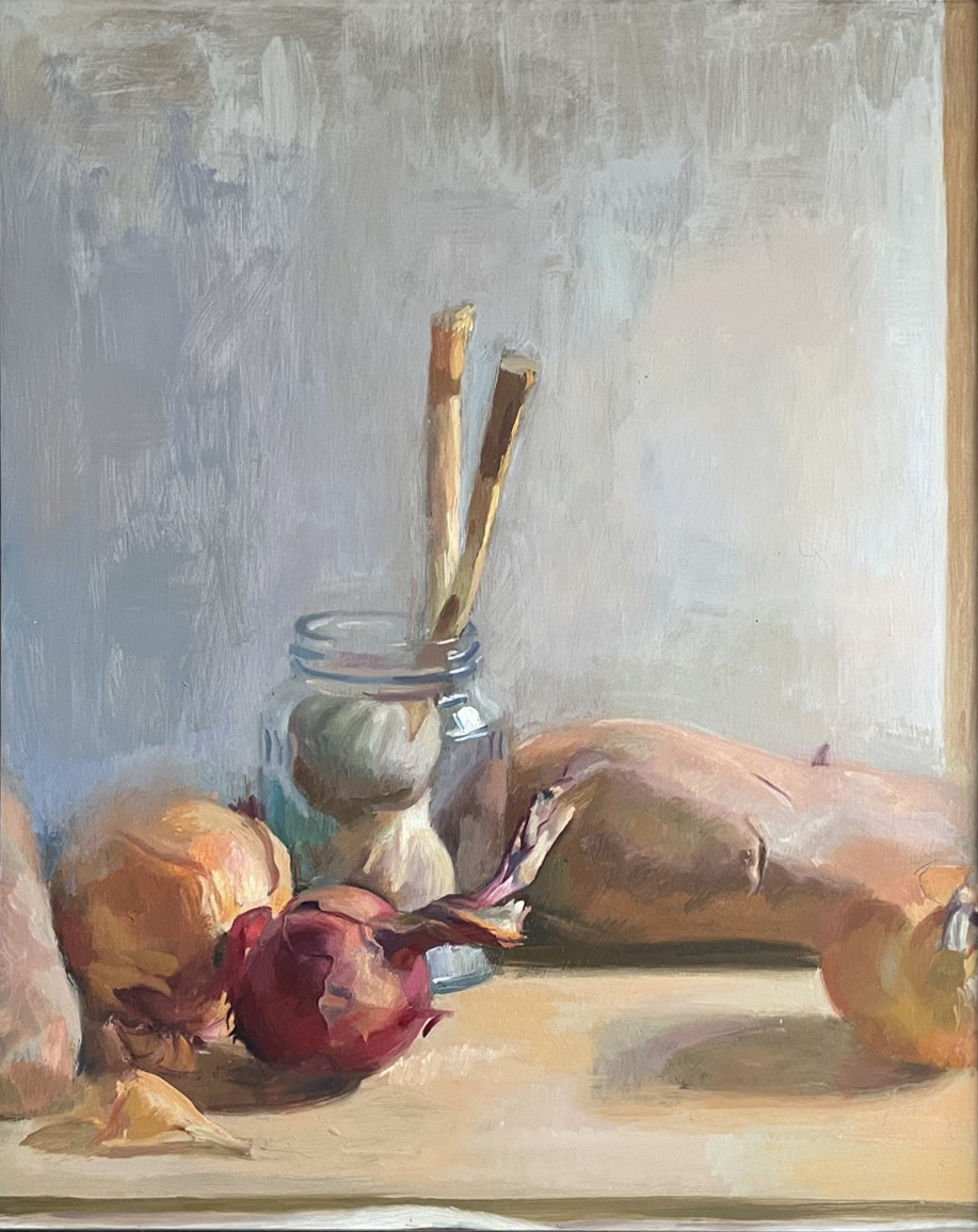 Still life with onions and brushes